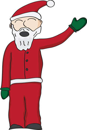 Vector illustration of santa clause in red suit waving