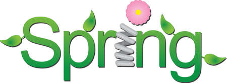 Vector green spring text with leaves a spring and a flower