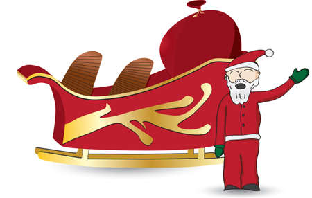 Santa Claus in red waving standing next to sled with a bag full of gifts