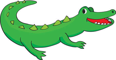 Vector illustration of a happy green alligator smiling Illustration