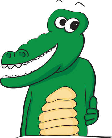 Vector illustration of a happy smiling alligator with his thumb up