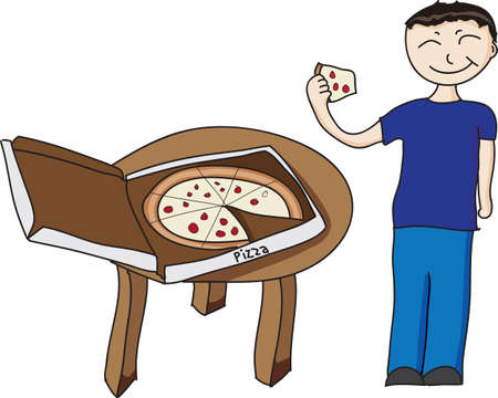 vector illustration of a boy eating pizza
