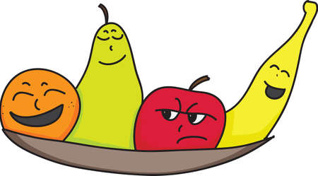 cartoon orange, pear, apple and banana characters with faces showing attitude, personality or mood