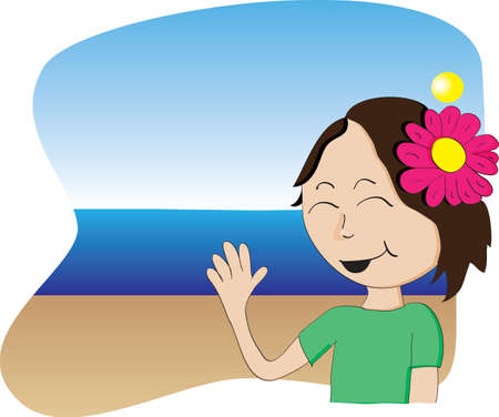 Hawaiian girl with flower waving from a beach