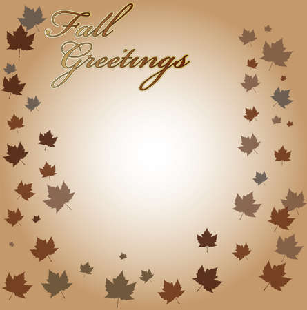 Fall greetings text with leaves falling around the borders