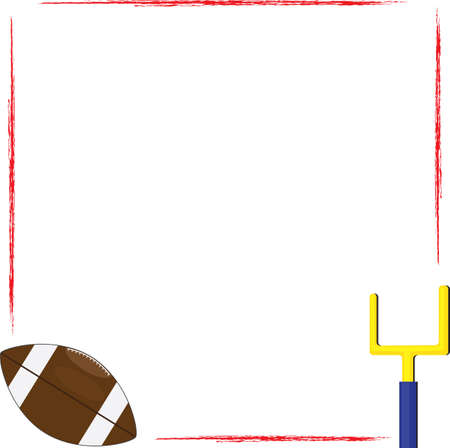 red grunge border frame with football and goalpost