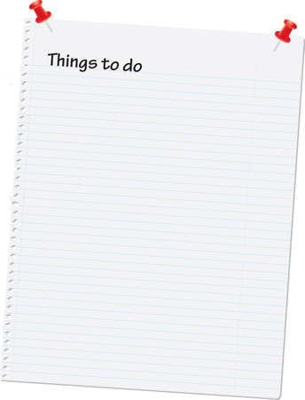Notebook page vector illustration with \things to do\ at the top