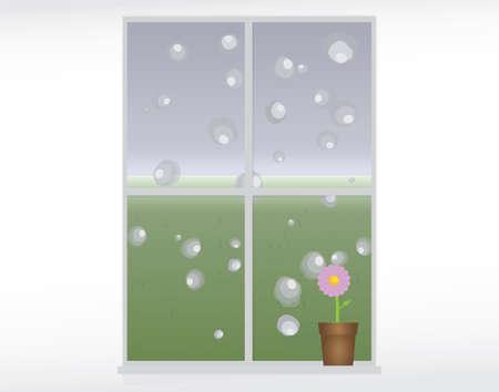 rain window: vector illustration of rain drops on a window