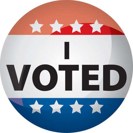 빨간색, 흰색, 파란색 및 별색의 단추 또는 그래픽을 투표했습니다.
