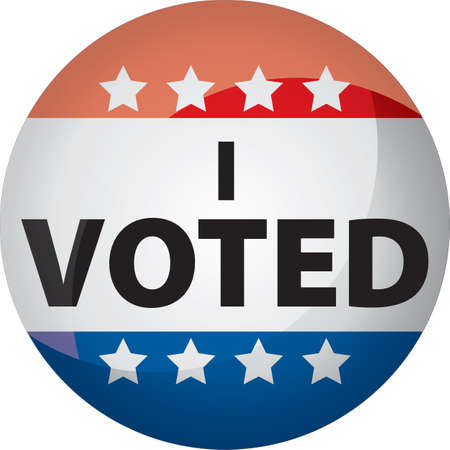 voted: I voted button or graphic with red, white, blue, and stars Illustration