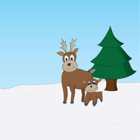 Happy baby and daddy reindeer standing by a tree looking