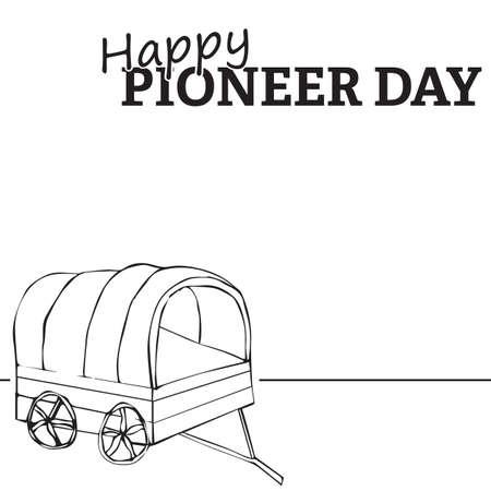 Wagon illustration, Happy Pioneer Day text