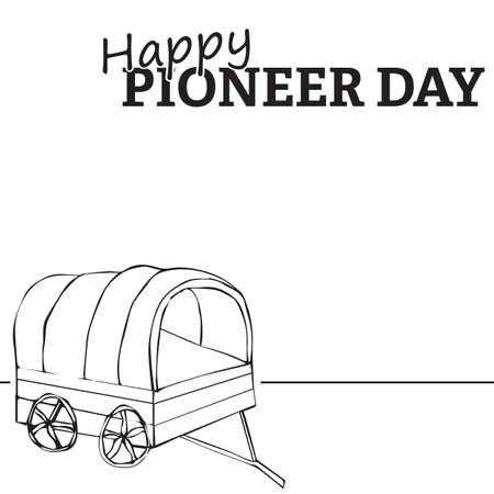 mormon: Wagon illustration, Happy Pioneer Day text