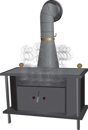 smoking wood burning stove Stock Illustratie