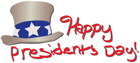 Happy Presidents day red text with hat