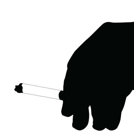 Black and White Hand Smoking Sihouette