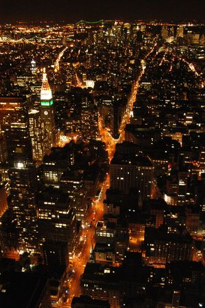 Manhattan from above at night Фото со стока