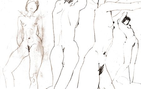 mujer desnuda de espalda: Escaneo de bocetos con las mujeres desnudas