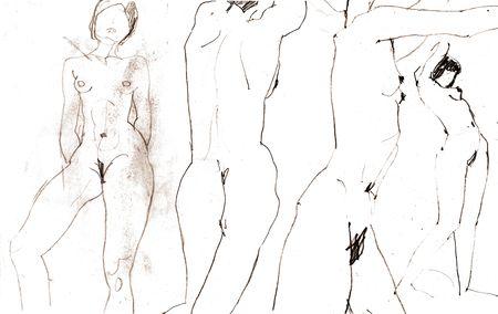 donne nude: Scansione di schizzi a nudo le donne