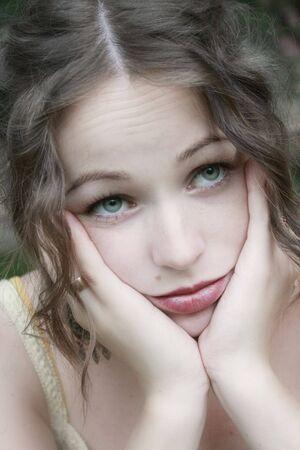 Beautiful young woman looking sad Stock Photo - 1960977