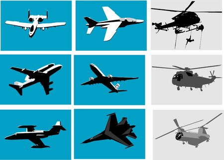 vector silhouettes of planes and helicopter photo