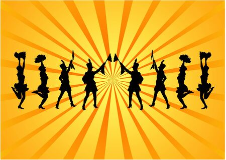 girls night out: Party people on abstract background