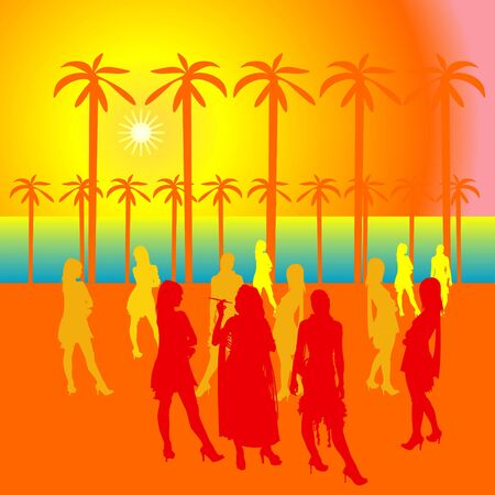 Party people at the open area with silhouettes. The sun and palm trees photo