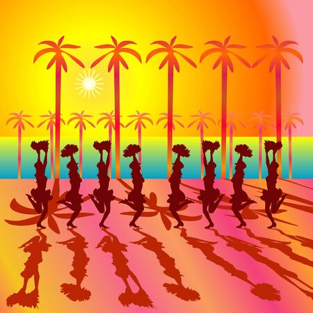 Party people at the open area with silhouettes. The sun and palm trees Stock Photo - 1961705