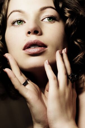 Beautiful woman. Fashion art photo. Close-up makeup photo