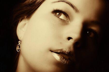 Beautiful woman closeup. Retro art photo photo