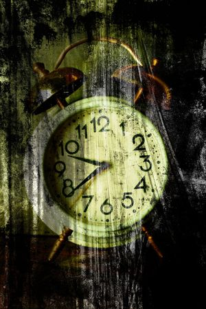 Old clock face. Closeup photo