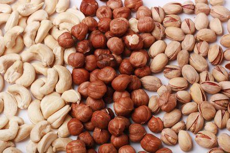 cashews: Assorted nuts (filberts, pistachio, cashews) close-up Stock Photo