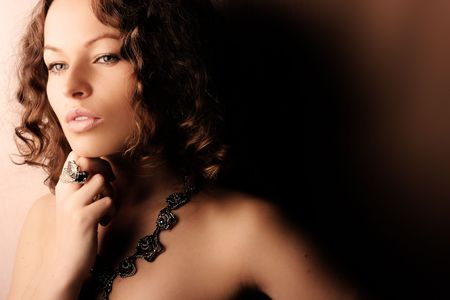 Beautiful woman. Fashion art photo. Close-up makeup photo