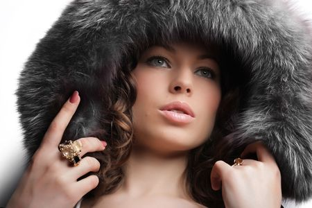 Beautiful woman. Winter fashion & makeup Stock Photo - 2676674