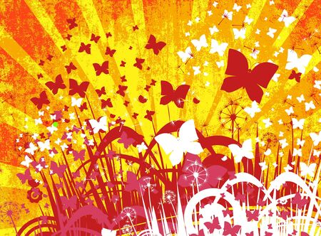 Flower background with butterfly, element for design photo