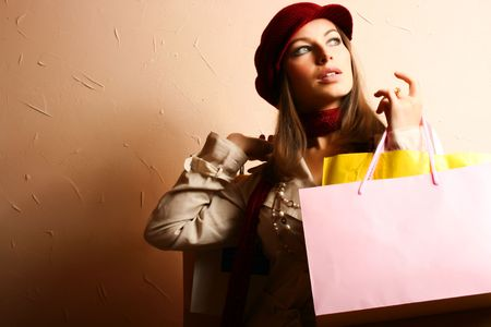 Portrait of young beautiful women with her shopping bags Stock Photo - 3693098