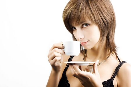Portrait of beautiful woman drinking coffee Stock Photo - 3982148