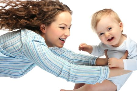 happy mother with baby on white background