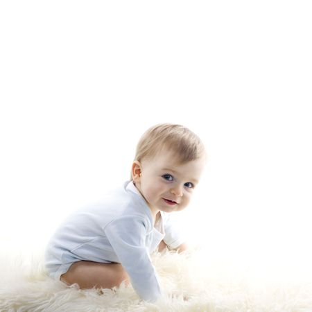 baby crawling: beautiful  baby boy on white background Stock Photo