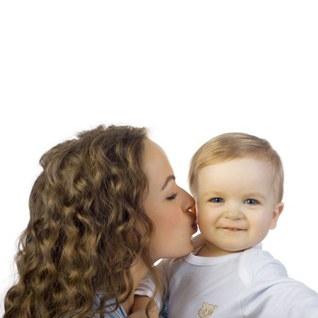 happy mother with baby on white background Stock Photo - 4307731