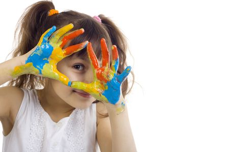 beautiful girl playing with colors on white background photo