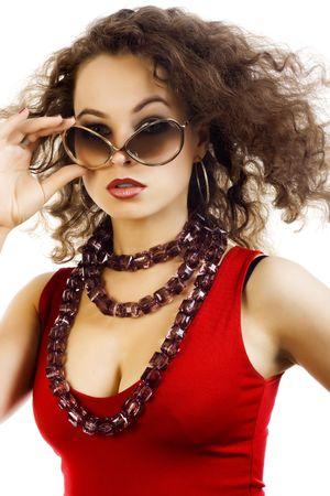 Beautiful woman with sunglasses. Fashion art photo