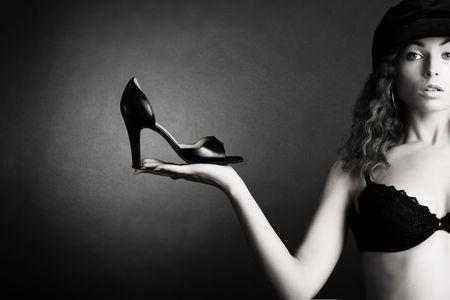Beautiful woman. Girl and shoe photo