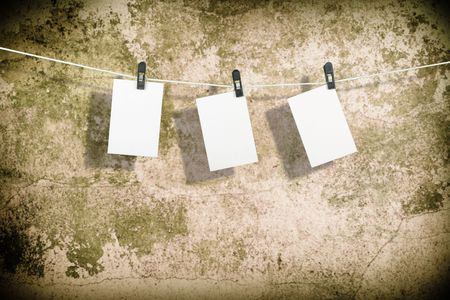 Three film blanks on a rope photo