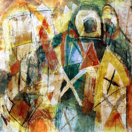 cuadro abstracto: T�cnica mixta, Expresi�n pintura abstracta Foto de archivo
