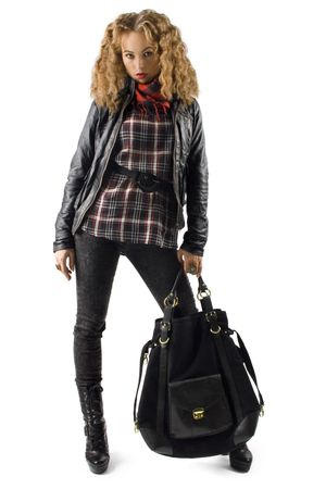 portrait of a girl with leather jacket with a bag photo