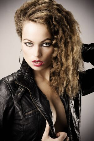 portrait of a girl with leather jacket photo