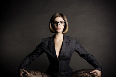 black stockings: Sexy business girl.  Fashion art  Stock Photo