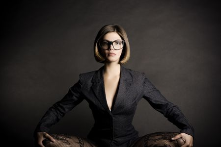 팬티 스타킹: Sexy business girl.  Fashion art  스톡 사진