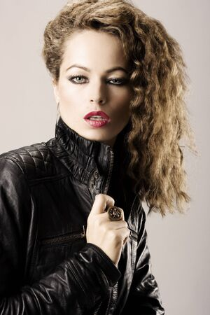 portrait of a girl with leather jacket Stock Photo - 5759091